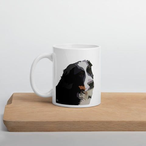 Bernese Mountain Dog Mug – White - Miss Manda Pet Portraits