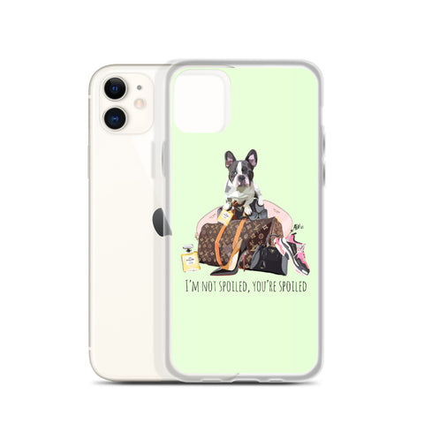 Spoiled French Bulldog Mint Green iPhone Case