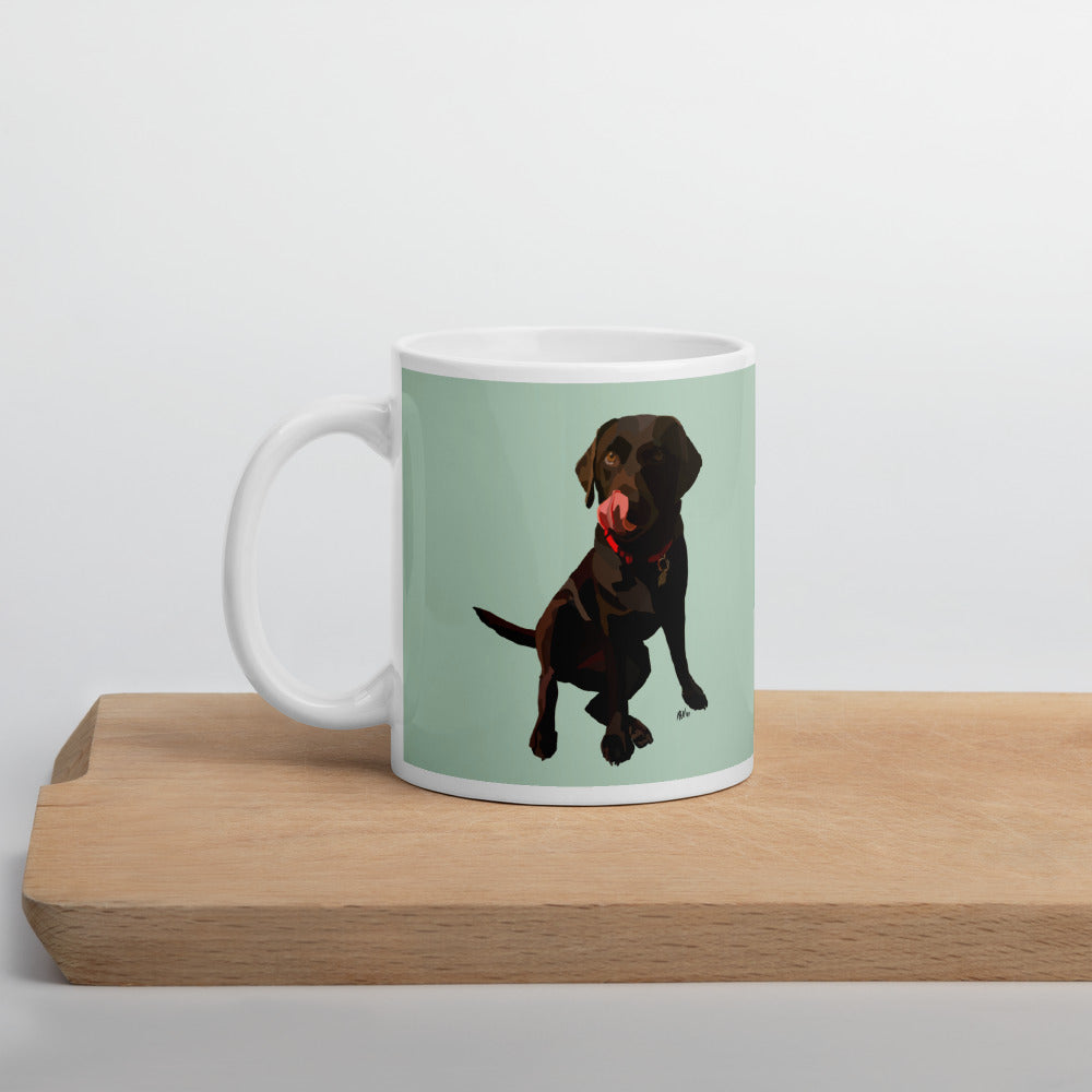 Chocolate Lab Mug – Green - Miss Manda Pet Portraits