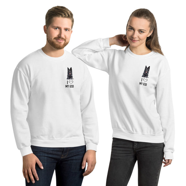 I Love My GSD Unisex Crew Neck Sweatshirt - Black GSD
