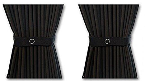 Curtain Set - 140cm Straight Rails & 70cm Curtain Height (Black)