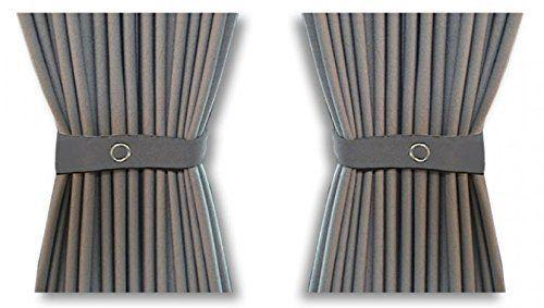 Curtain Set - 140cm Straight Rails & 52cm Curtain Height (Grey)