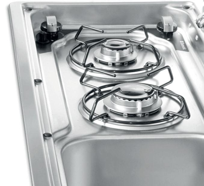 Slimline Smev 9722 - PIEZO 2 burner hob & sink (sink on RIGHT)