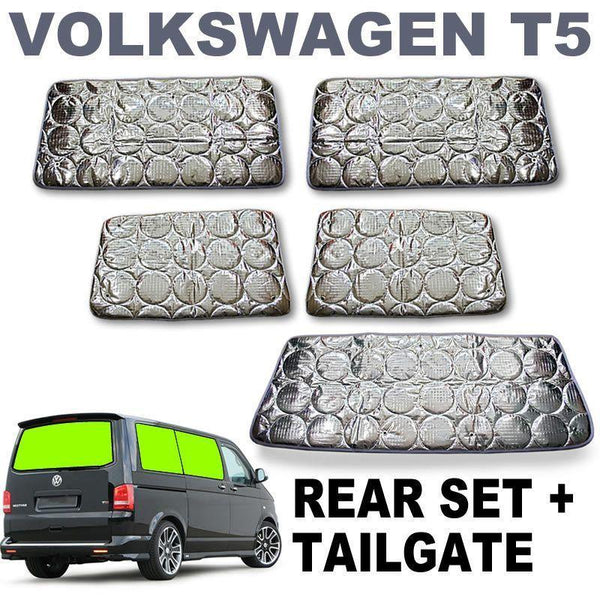 VW T5 / T6 Silver Screens - Complete Rear Set with Tailgate (SWB)