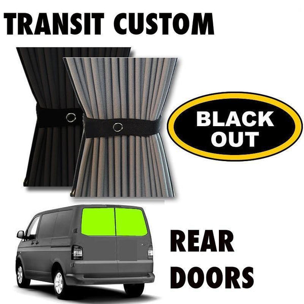 Ford Transit Custom Van Curtain Kit - Rear Doors (BLACKOUT)