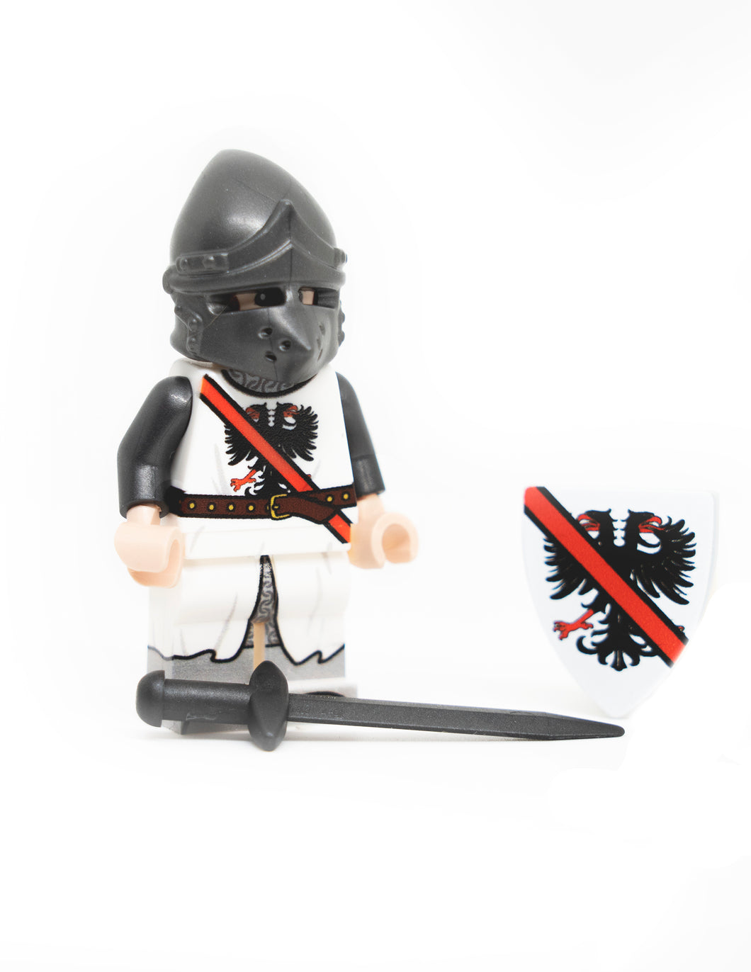 Custom Printed French Eagle Knight LEGO Minifigure with sword and shield