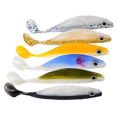 6 pcs Swimbaits Fishing Lures Soft Bait Shad Soft Jerkbaits Plastic Sinking Sea Fishing Bait Casting Lure Fishing