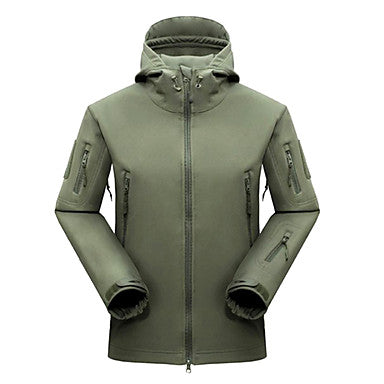 Men's Hunting Jacket Outdoor Waterproof Warm Spring Fall Winter Cotton Elastane Fleece Jacket Hoodie Softshell Jacket Camping / Hiking Army Green Grey Khaki L XL XXL