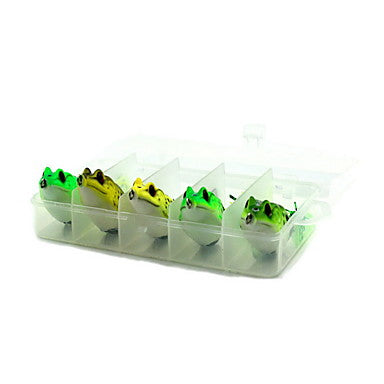 5 pcs Fishing Lures Hard Bait Frog Hard Plastic Floating Bait Casting