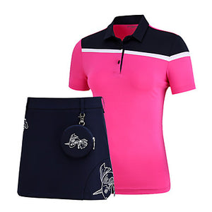 Women's Skirt Tee / T-shirt Clothing Suit Short Sleeve Golf Running Workout Athleisure Outdoor Autumn / Fall Spring Summer / Micro-elastic / Quick Dry / Moisture Wicking / Breathable