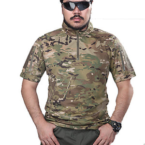 Men's Camouflage Hunting T-shirt Outdoor Tactical Top Spring Summer Fall Short Sleeve Hunting, Leisure Sports