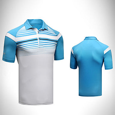 Men's Tee / T-shirt Short Sleeve Golf Outdoor Spring / Stretchy / Quick Dry / Thermal / Warm / Breathable / Stripes