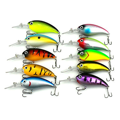 10 pcs Fishing Lures Crank Hard Plastic Sinking Sea Fishing Bait Casting Bass Fishing / Lure Fishing / General Fishing