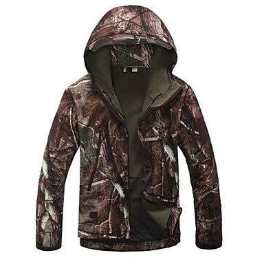 Men's Camo / Camouflage Camouflage Hunting Jacket Outdoor Thermal / Warm Windproof Breathable Rain Waterproof Spring Fall Winter Fleece Jacket Hoodie Softshell Jacket Camping / Hiking Hunting Fishing