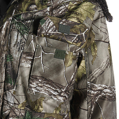 Men's Camo / Camouflage Hunting Jacket with Pants Outdoor Waterproof Thermal / Warm Shockproof Fall Winter Cotton Elastane Fleece Winter Jacket Top Clothing Suit Hunting Fishing Camouflage Dark Green