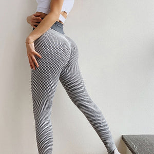 High Waist Women Yoga Pants Push Up Breathable Fitness Sports Leggings Running Tights Sportswear Slim Gym Clothing Female Gray
