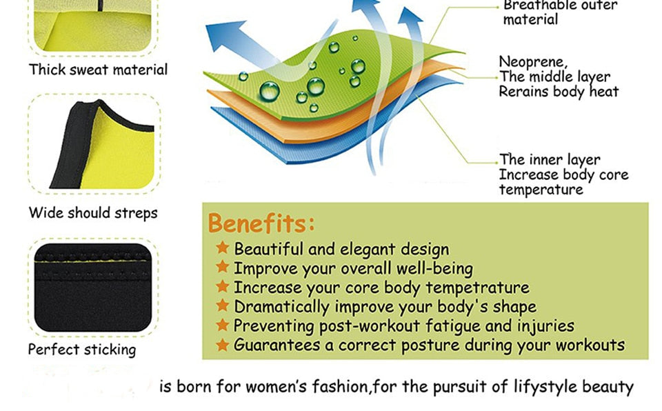 HEXIN Plus Size Neoprene Sweat Sauna  Body Shapers Vest Waist Trainer Slimming Vest Shapewear Weight Loss Waist Shaper Corset - Manu-Health  & Beauty