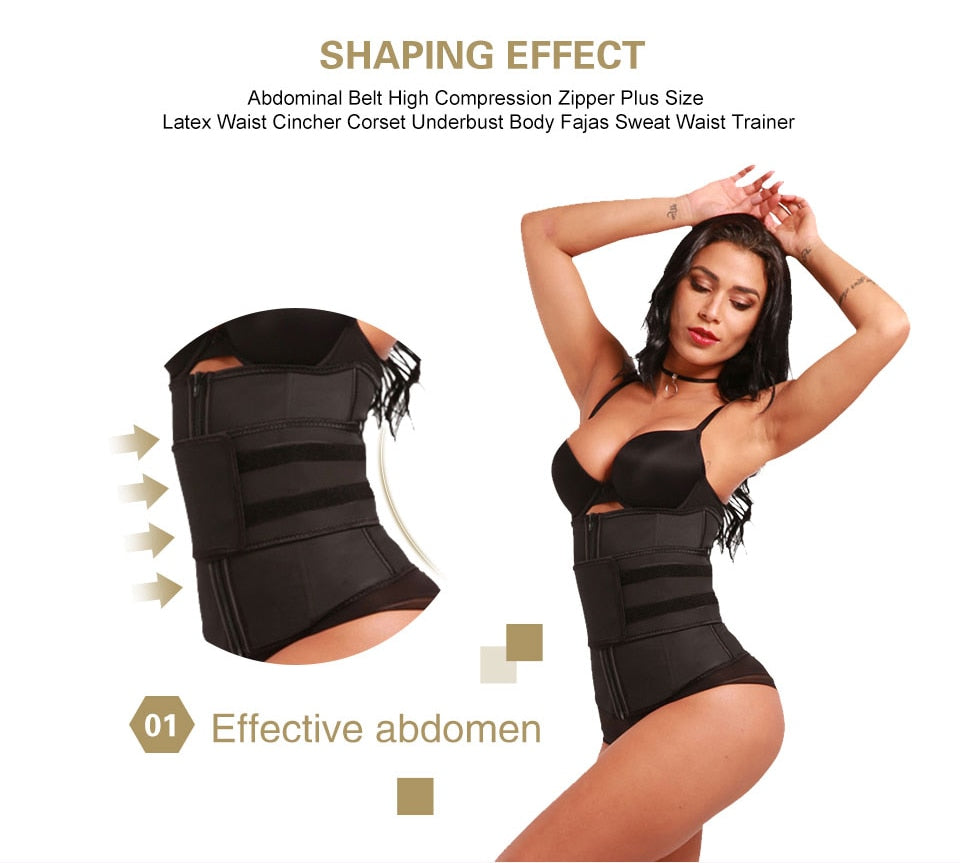 HEXIN Abdominal Belt High Compression Zipper Plus Size Latex Waist Cincher Corset Underbust Body Fajas Sweat Waist Trainer