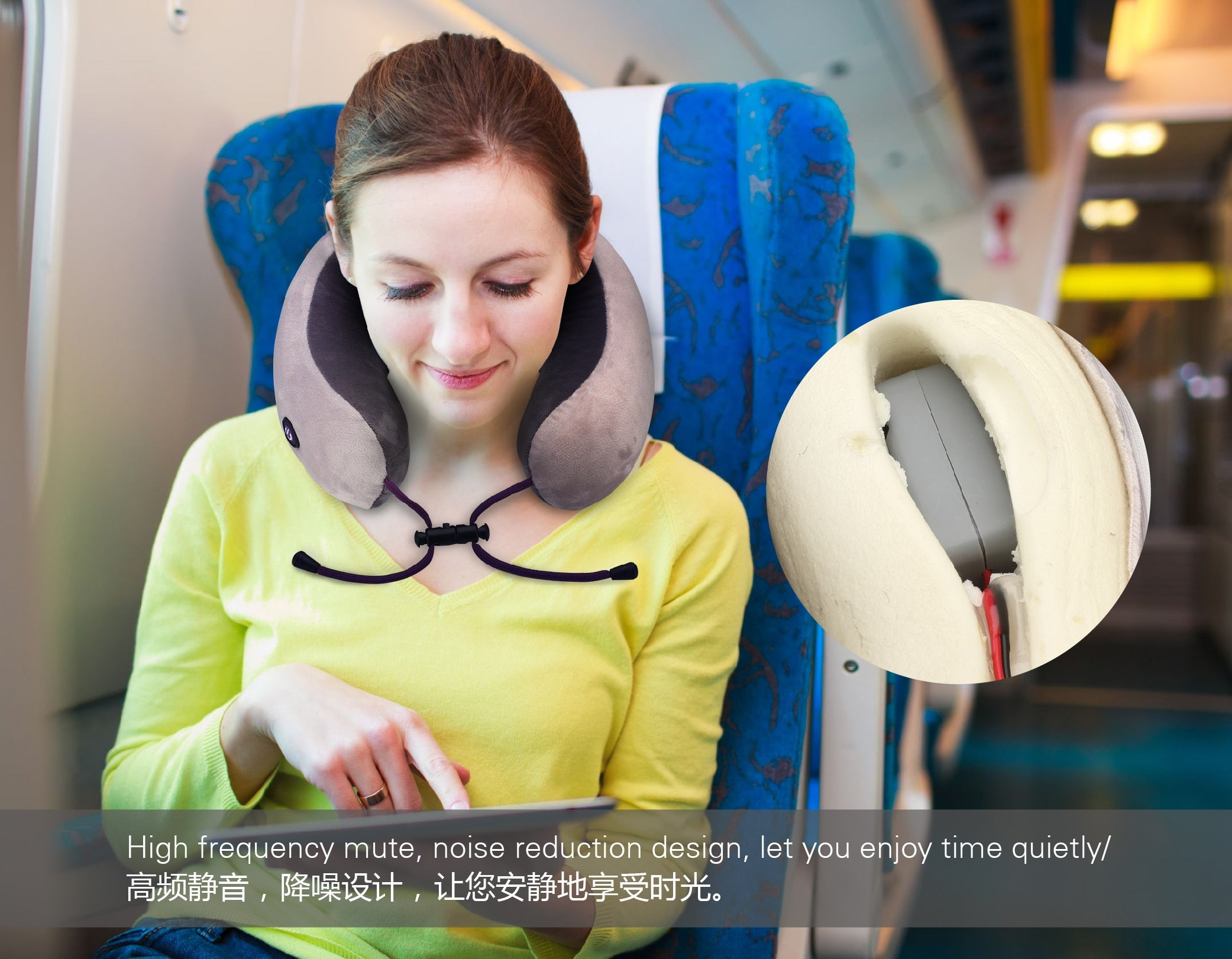 KIKI NEWGAIN Massage U-Shaped Pillow Multi-Function Shoulder and Cervical Vertebra Electric Outdoor Portable Car Health Care - Manu-Health  & Beauty