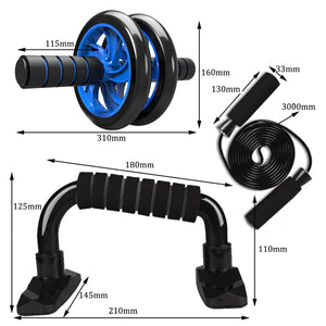 4-in-1 AB Wheel Roller Kit Abdominal Press Wheel Pro with Push-UP Bar Jump Rope & Knee Pad Portable Equipment for Home Exercise