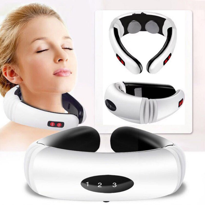 Electric Pulse Back and Neck Massager Far Infrared Heating Pain Relief Tool Health Care Relaxation - Manu-Health  & Beauty