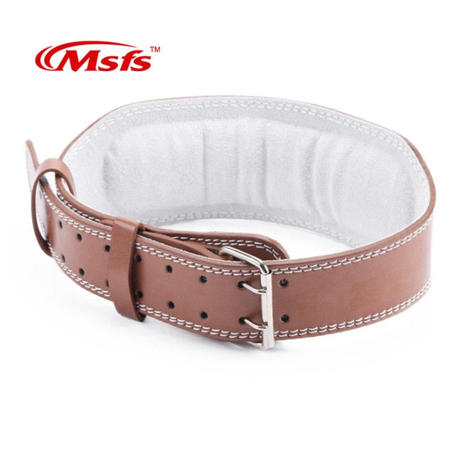 Leather Weightlifting Belt Gym Fitness Crossifit Dumbbell Barbell Powerlifting Back Support Power Training Weight Lifting Belt - Manu-Health  & Beauty