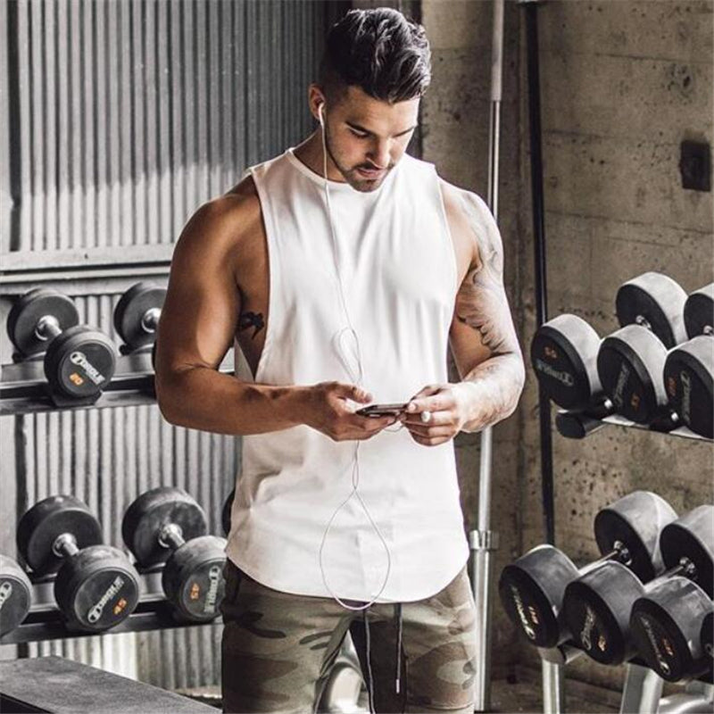 Brand Gyms Stringer Clothing Bodybuilding Tank Top Men Fitness Singlet Sleeveless Shirt Solid Cotton Muscle Vest Undershirt