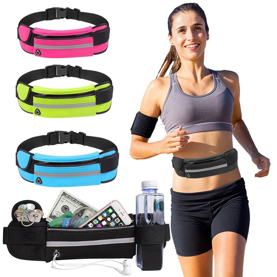 New Outdoor Running Waist Bag Waterproof Mobile Phone Holder Jogging Belt Belly Bag Women Gym Fitness Bag Lady Sport Accessories