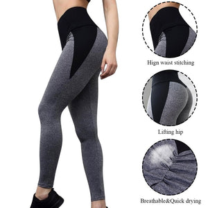 High Waist Women Yoga Pants Push Up Breathable Fitness Sports Leggings Running Tights Sportswear Slim Gym Clothing Female Gray - Manu-Health  & Beauty