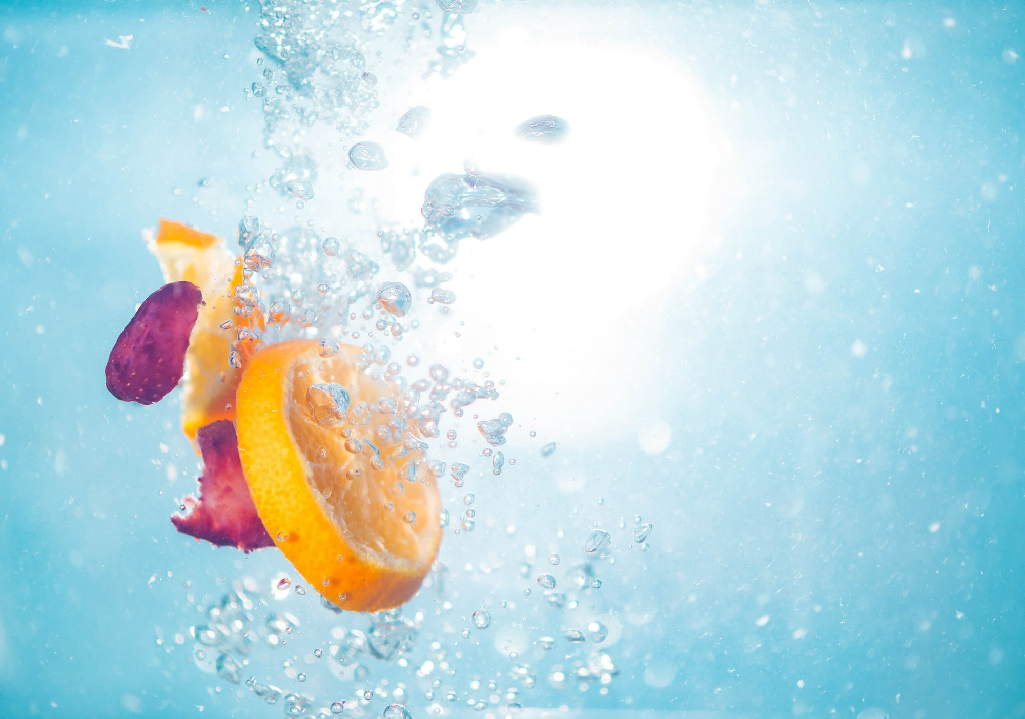 Vitamin C and the immune system represented by fruit in water