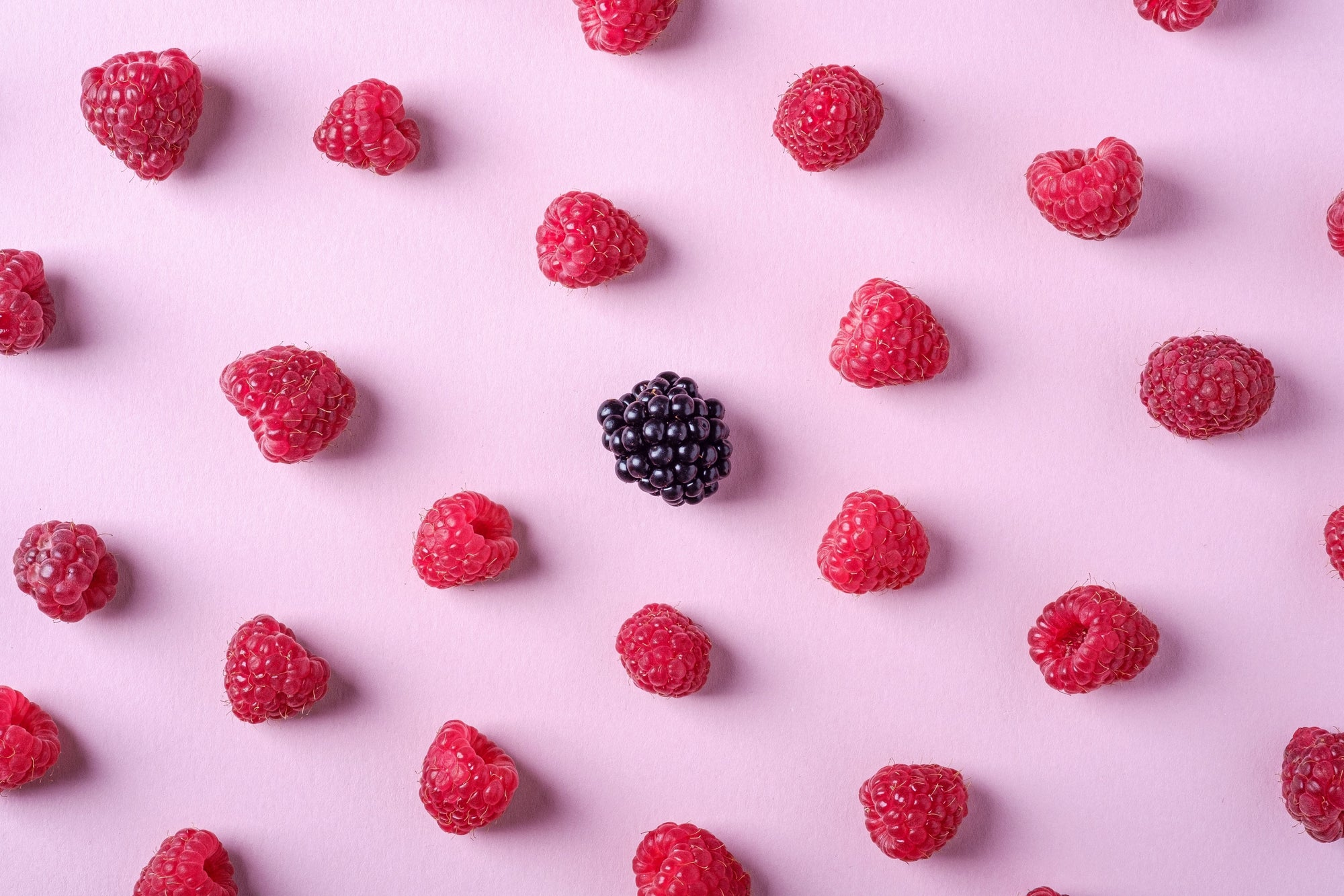 raspberries flat lay