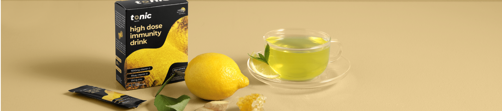 lemon and honey vitamin drink banner