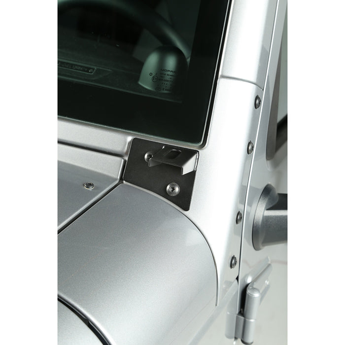 Rugged Ridge Light Mount Bracket Kit, Windshield, Textured Black; 07-18 Wrangler JK (11027.04) - Wreckless Motorsports