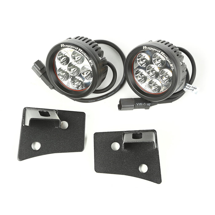 Rugged Ridge Light Kit, Windshield Mounted, Round, Black; 07-18 Wrangler JK (11027.17) - Wreckless Motorsports