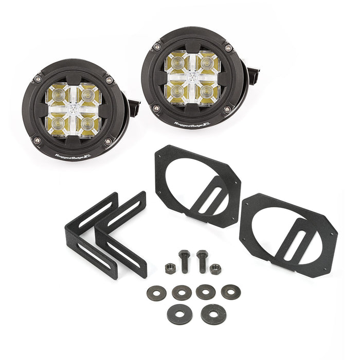 Rugged Ridge Light Kit, Windshield Mounted, Dual Beam, Round; 07-18 Wrangler JK (11232.17) - Wreckless Motorsports