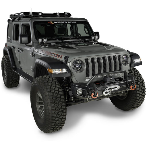 Rugged Ridge Arcus Front Bumper Set, With Overrider; 18-19 JL - Wreckless Motorsports
