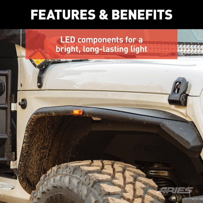 ARIES Jeep Fender Flare LED Side Markers (1500240) - Wreckless Motorsports