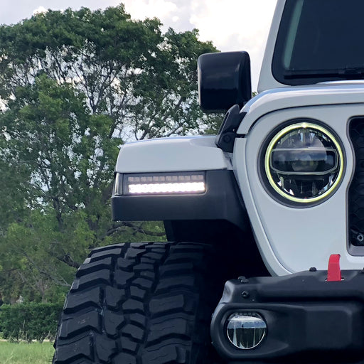 RECON Jeep JL/ JT Front High Power White OLED DRL with High Power Amber Scanning Switchback OLED Turn Signal 2-Piece Set  – Clear Lens - Wreckless Motorsports