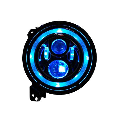 "QUAKE LED Jeep Wrangler JL/Gladiator JT 9"" Headlights With DRL HALO, Turn Signals, RGB Accent (QTE559) - Wreckless Motorsports"