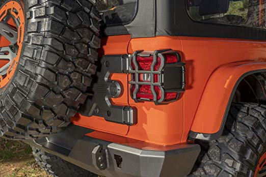 Rugged Ridge Elite Tail Light Guards, Tex. Black; 2018-2019 JL - Wreckless Motorsports