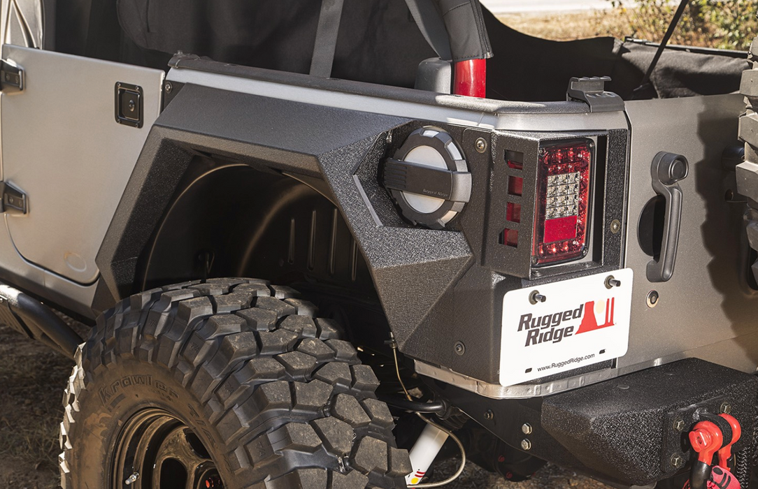Rugged Ridge XHD Armor Fender Kit, Rear, Pair; 07-18 Jeep JKU, 4 Door (11615.02) - Wreckless Motorsports