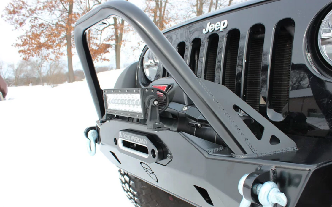 JCR Offroad JK Mauler Front Stubby Winch Bumper with Brush Guard - Wreckless Motorsports