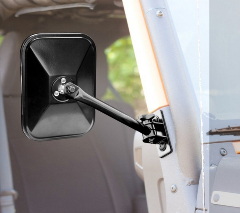 Rugged Ridge Quick Release Mirror, Rectangular, Black, Single | 97-18 Jeep Wrangler