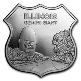 1 oz Silver - Icons of Route 66 Shield (Illinois Gemini Giant) - Jungle Park Toys