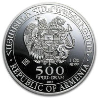 2013 Armenia 1 oz Silver 500 Drams Noah's Ark BU - Jungle Park Toys