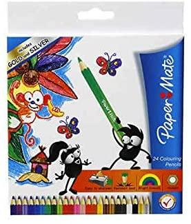 Paper Mate Colorific Pencils 16cm (Pack of 24) Includes Gold & Silver - Jungle Park Toys