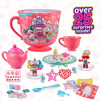 Itty Bitty Prettys Tea Party Teacup Dolls Playset (with Over 25 Surprises!) by Zuru - Rocker and Unicorn, Blue Top - Jungle Park Toys
