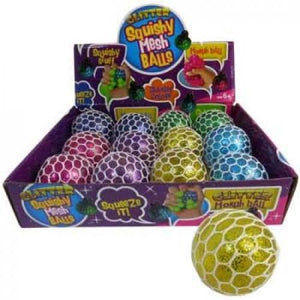 SQUISHY MESH GLITTER BALL ASSORTED - Jungle Park Toys