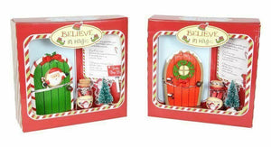 CHRISTMAS SANTA DOOR WISH KIT POLYRESIN , TREE, SANTA STOP HERE SIGN & LETTER - Jungle Park Toys
