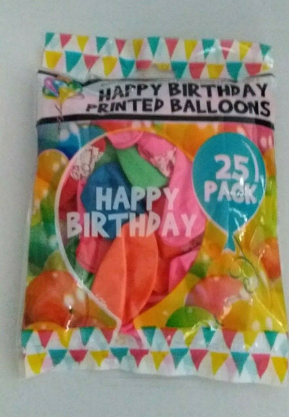 25 Pack Happy Birthday Printed Balloons - Jungle Park Toys